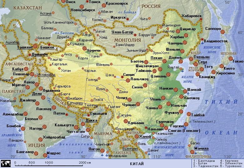 Карта Китая: МАНСАНА, Киев / Украина: http://www.mansana.com/china/map.html