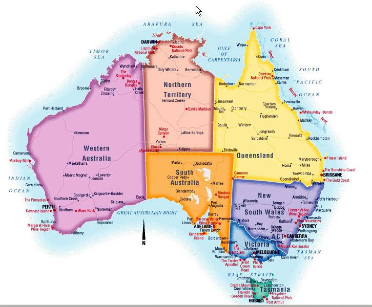 Карта австралии от мансаны