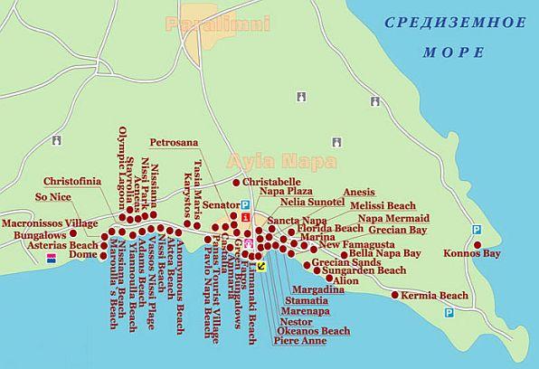 Карта отелей айя напы от мансаны