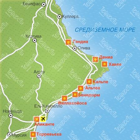 Карта отелей коста бланки от мансаны